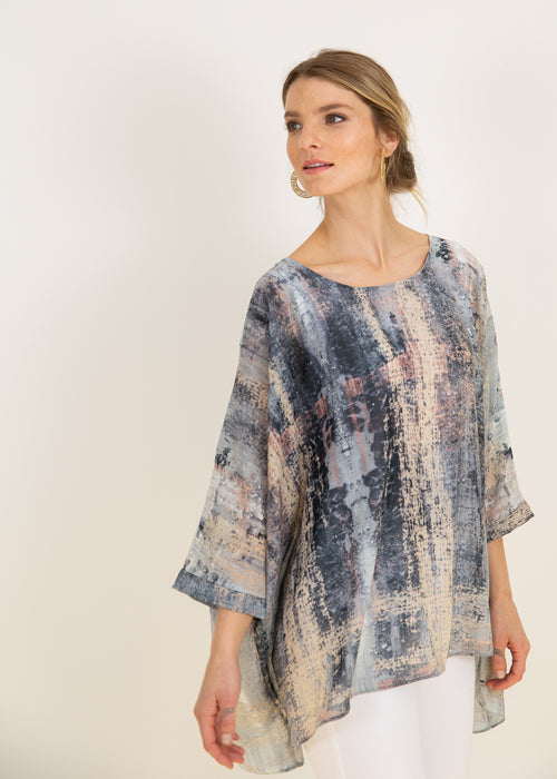 Capri Poncho Top in Silver Canvas