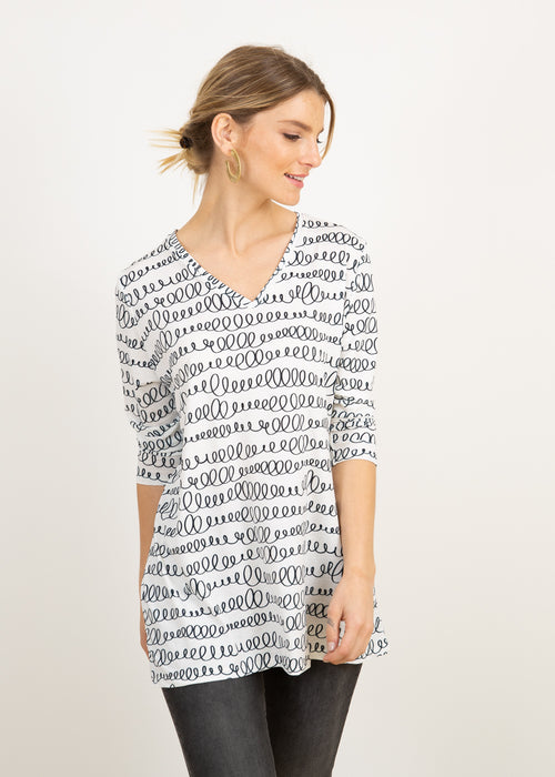 Elle V Neck Tunic in Spirals on White