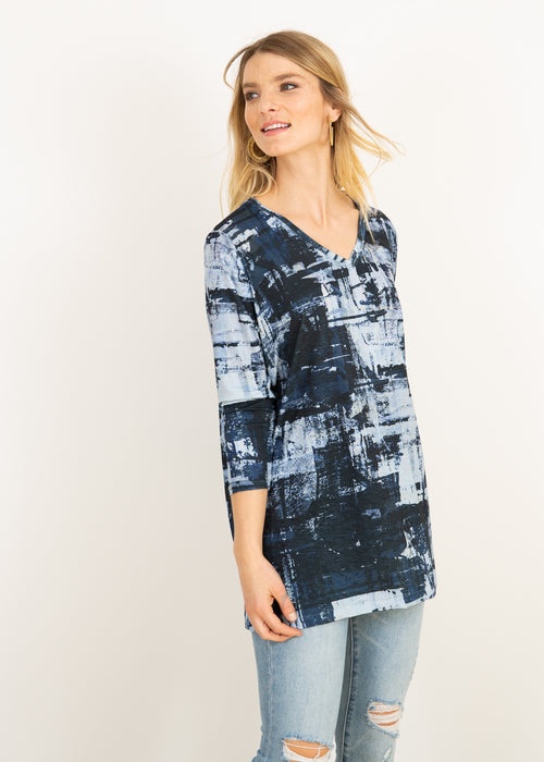 Elle V Neck Tunic in Blue Canvas