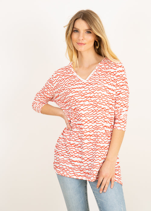 Elle V Neck Tunic in Red Squiggles