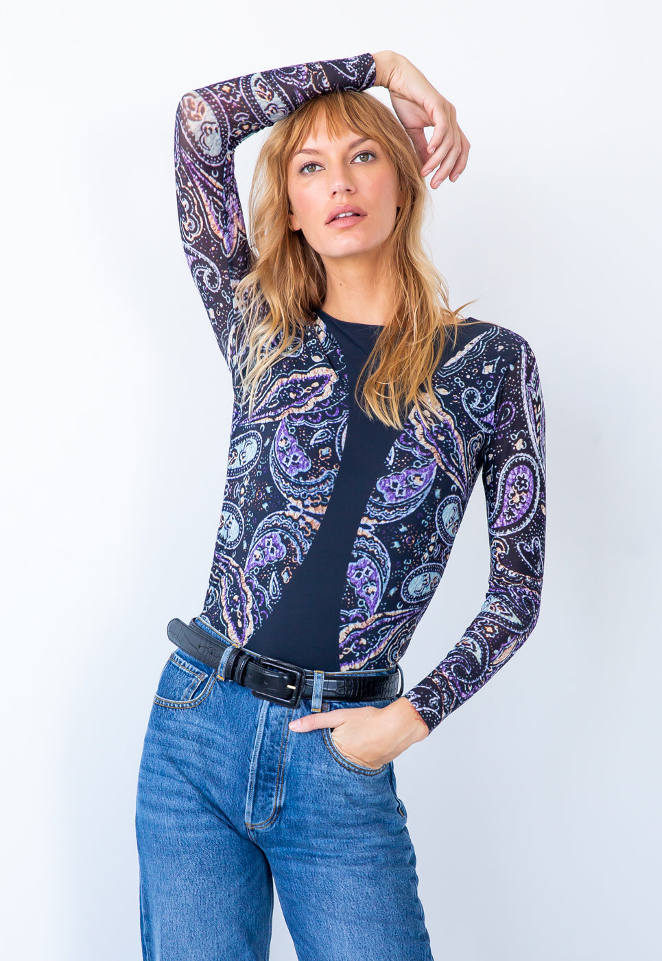 Retro Paisley Lavender/Black - Florence Double Sheer Top