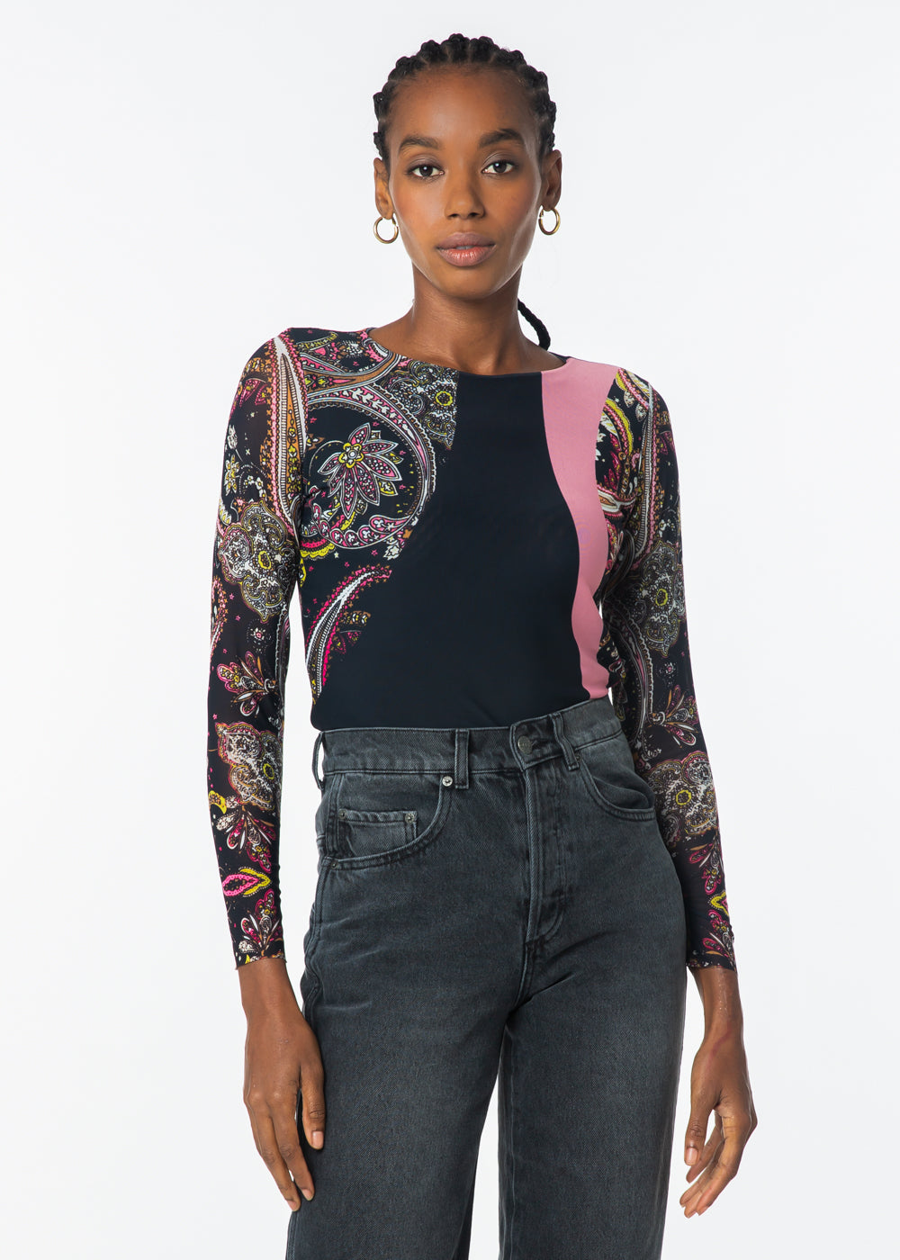 Retro Paisley Pink/Black - Florence Double Sheer Top