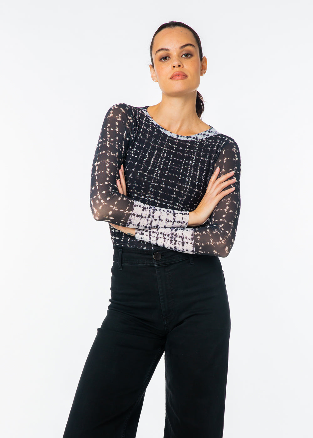 Black Tweed - Florence Double Sheer Top