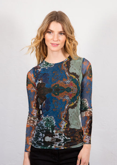 Marbled Waters - Florence Double Sheer Top