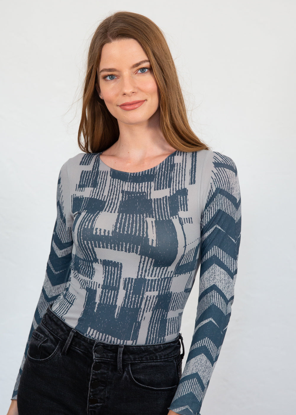 Textured Monochrome Second Skin Raw Edge Top