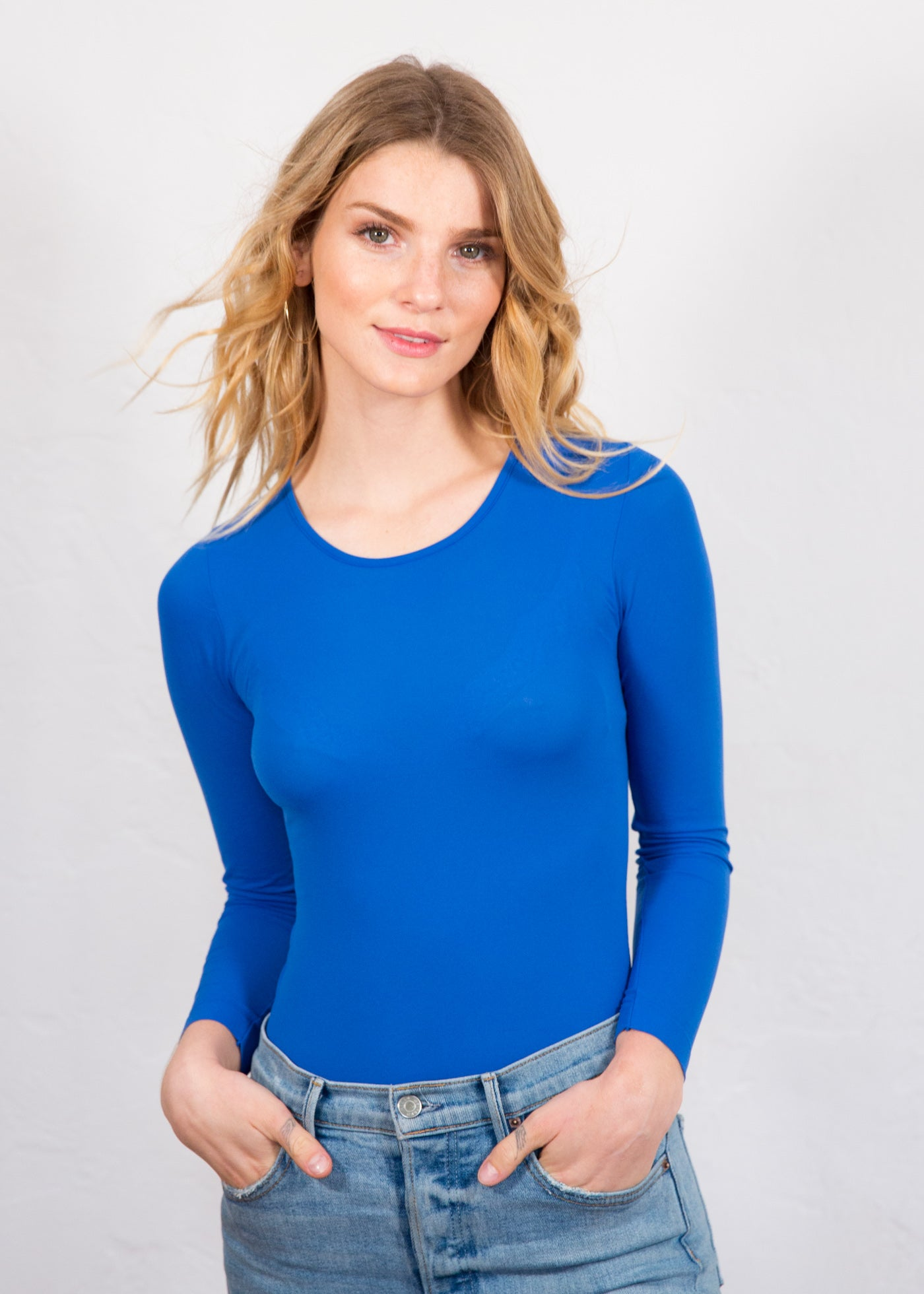 Solid Crew Neck Sheer Top - NEW COLORS!