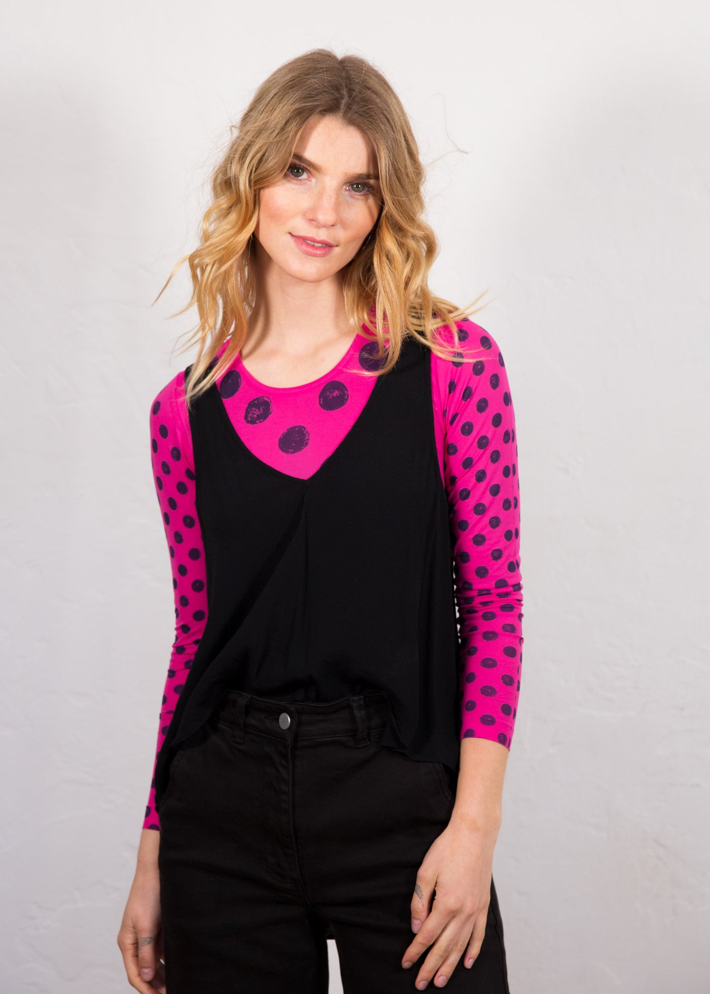 Grunge Polka Dot Crew Neck Top - New Colors!