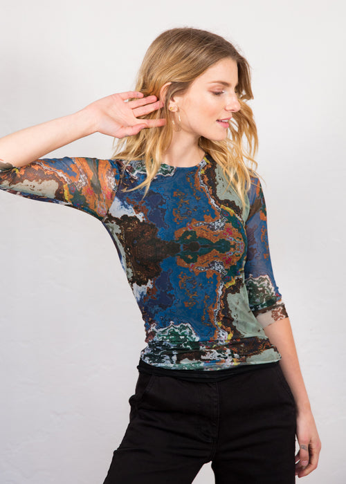 Marbled Waters - Florence 3/4 Sleeve Double Sheer Top