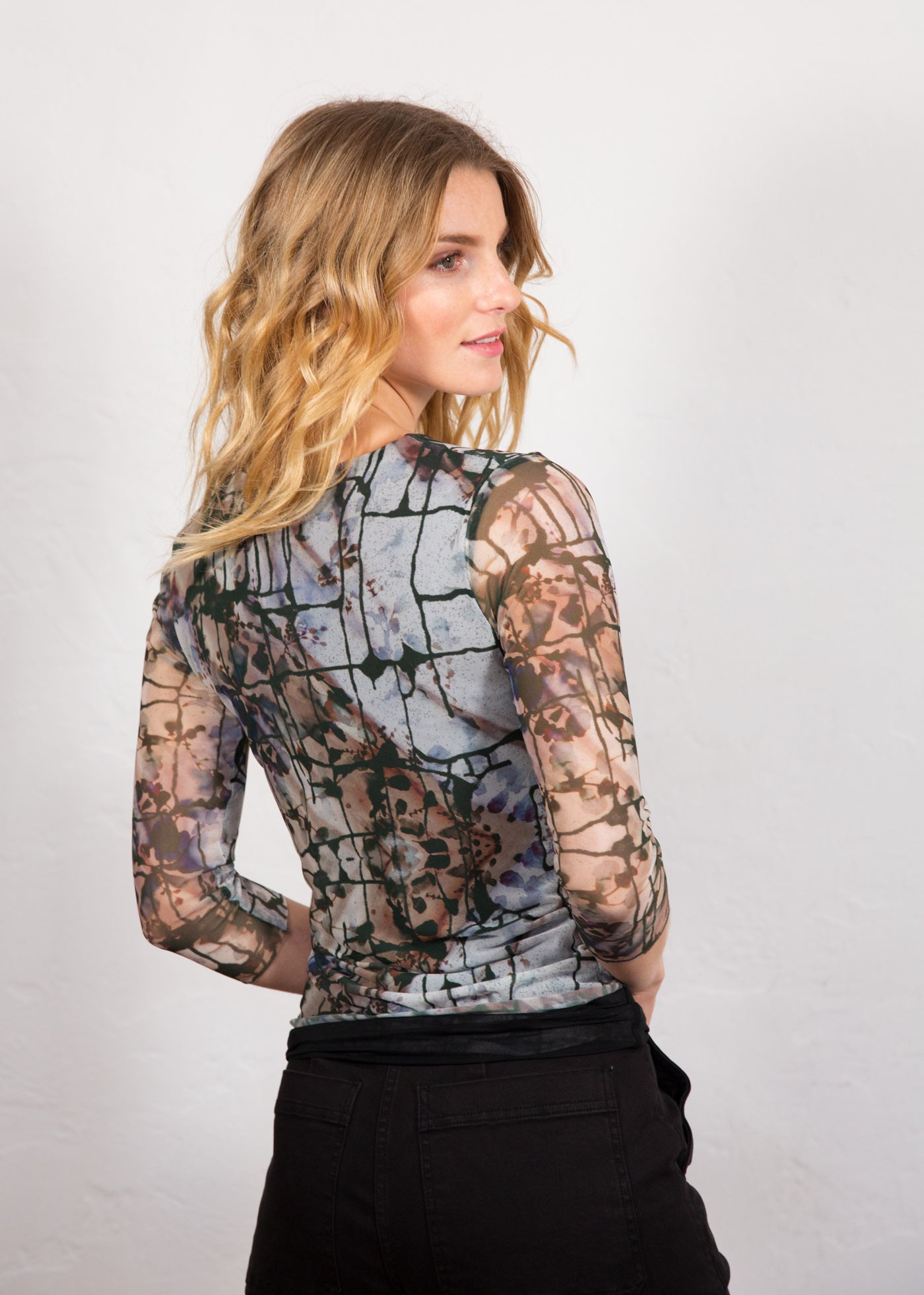 Sand Stone - Florence 3/4 Sleeve Double Sheer Top