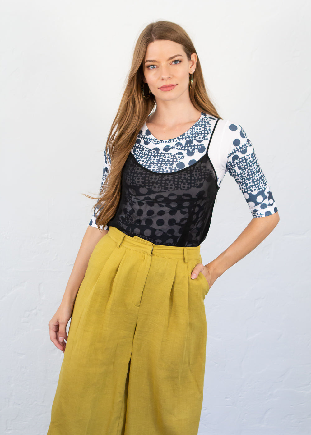 Parisian Dots Elbow Sleeve Top