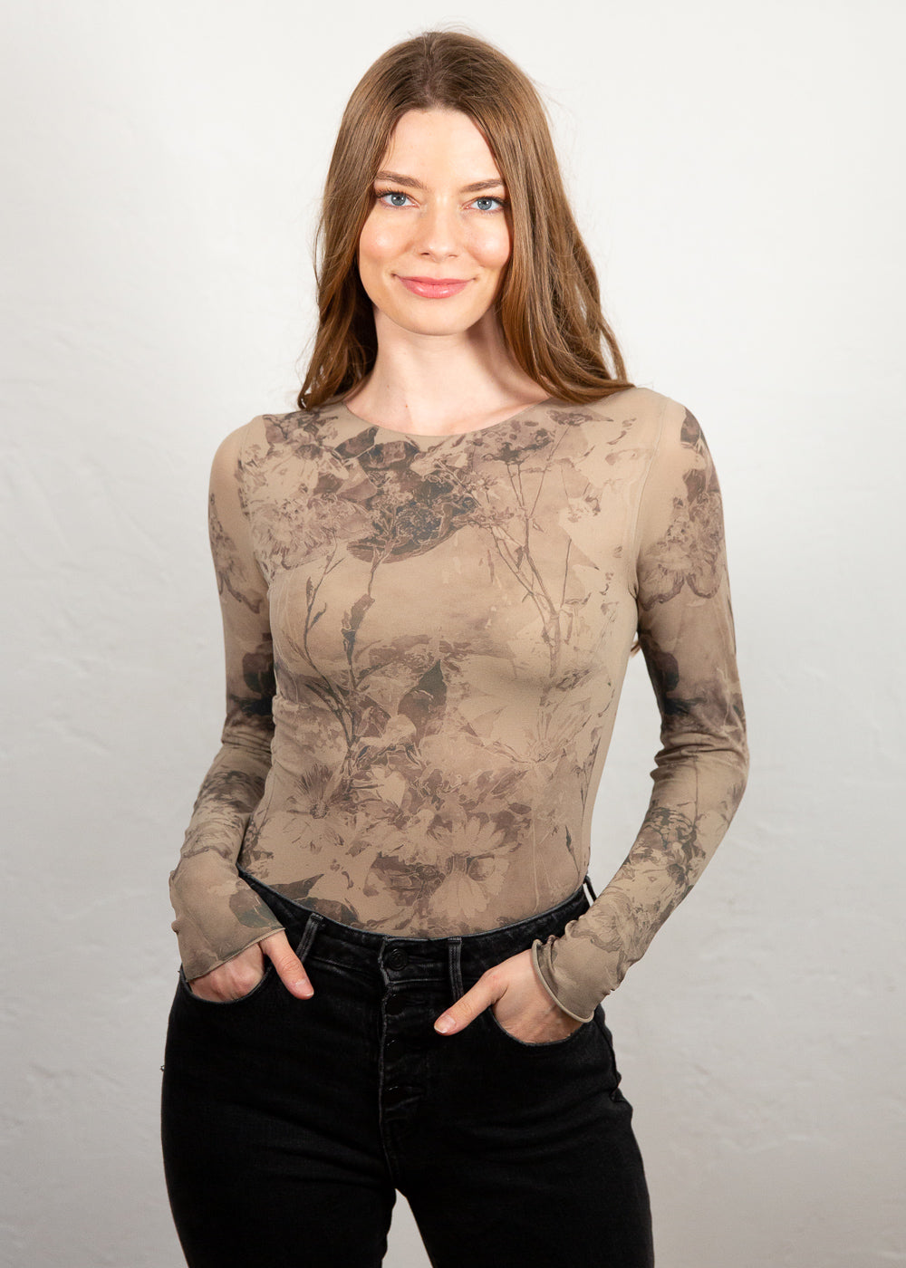 Antique Flora Raw Edge Second Skin Top