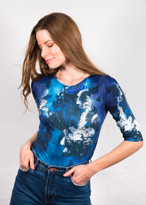 Moody Floral Elbow Sleeve Top