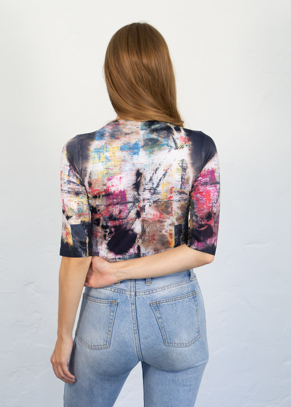 Mixed Media Elbow Sleeve Top