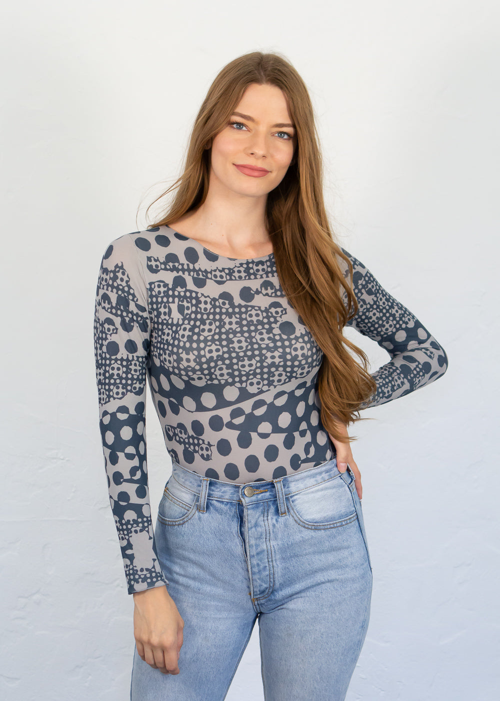 Parisian Dots Art Raw Edge Top