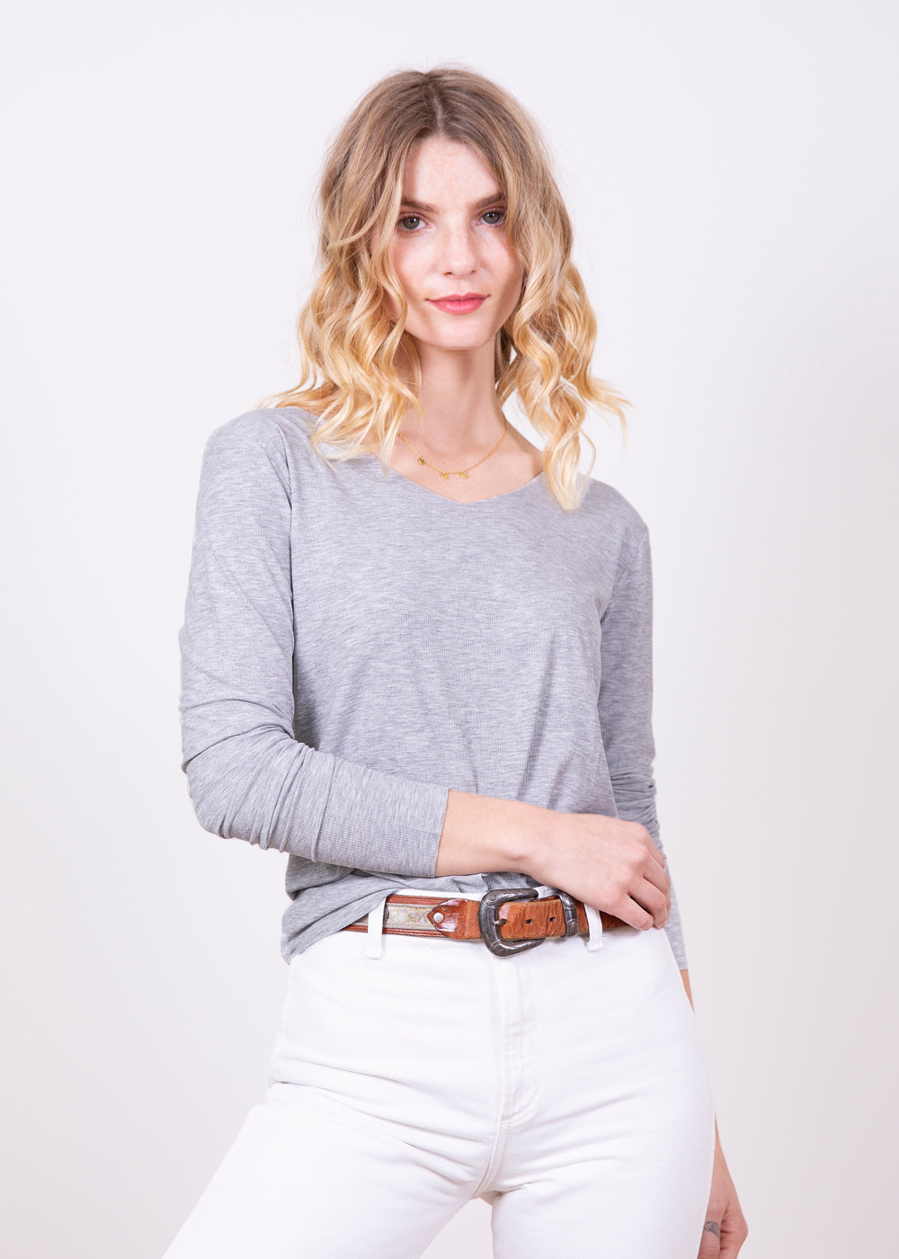 Kate Long Sleeve V Neck Top