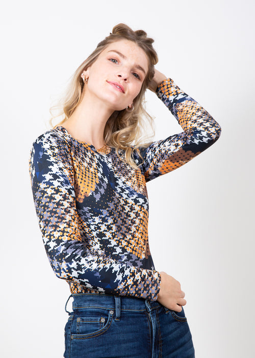 Houndstooth in Gold - Olivia Silky Top