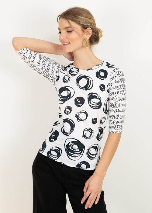 Doodle Collage on White - Pippa Elbow Sleeve Top