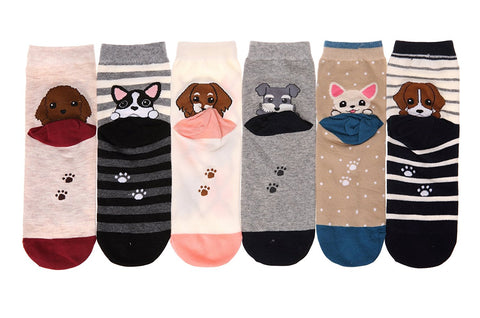 Girl Crew socks Cartoon Animal Cute Casual Cotton Novelty 6 packs-Gift Idea