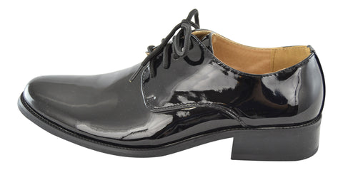 Boys Dress Shoes Lace Up Retro Patent Leather Oxfords black