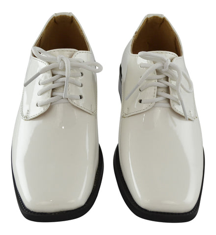 Boys Dress Shoes Lace Up Retro Patent Leather Oxfords White