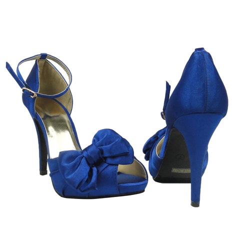 Womens Dress Sandals Satin Peep Toe Ribbon Bow High Heel Shoes Blue