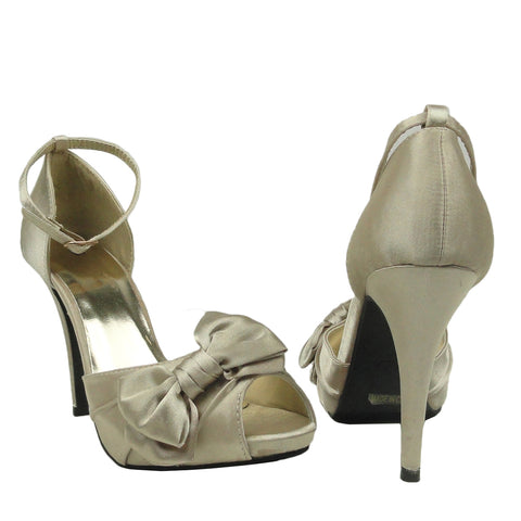 Womens Dress Sandals Satin Peep Toe Ribbon Bow High Heel Shoes Champagne