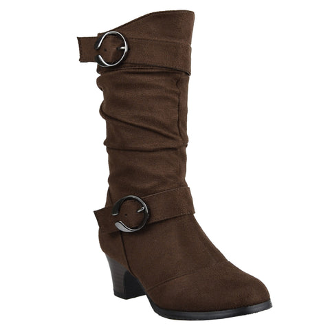 Kids Mid Calf Boots High Heel Double Buckle Side Zipper Closure Brown