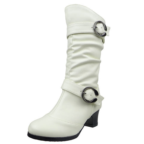 Kids Mid Calf Boots High Heel Double Buckle Side Zipper Closure White