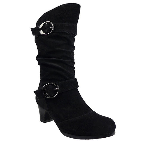 Kids Mid Calf Boots High Heel Double Buckle Side Zipper Closure black