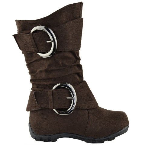 Kids Mid Calf Boots Loose Ruched Buckles Side Zipper Closure Brown