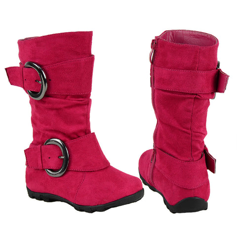Kids Mid Calf Boots Loose Ruched Buckles Side Zipper Closure Pink