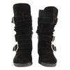 Toddlers Knee High Boots Ruched Leather Buckles Side Zipper Closure black