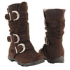 Toddlers Knee High Boots Ruched Leather Buckles Side Zipper Closure Brown