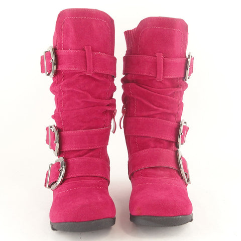 Toddlers Knee High Boots Ruched Leather Buckles Side Zipper Closure Pink