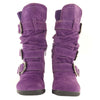 Toddlers Knee High Boots Ruched Leather Buckles Side Zipper Closure Purple