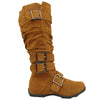 Womens Knee High Boots Ruched Leather Buckles Knitted Calf Tan