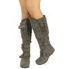 Womens Knee High Boots Ruched Leather Buckles Knitted Calf Gray