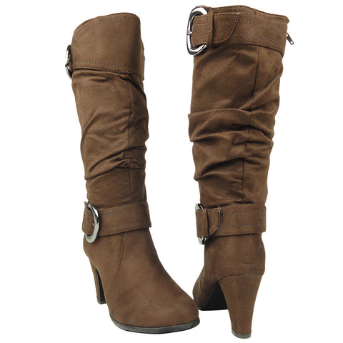 Womens Knee High Boots Ankle and Calf Buckle Side Zipper Closure Brown