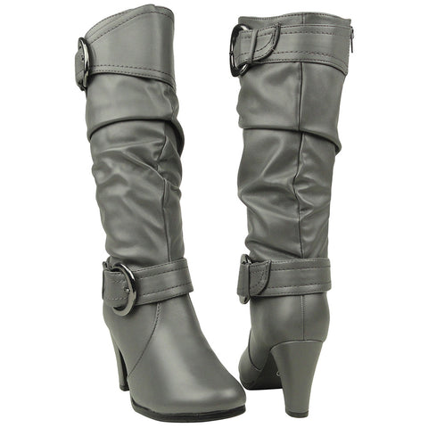 Womens Knee High Boots Ankle and Calf Buckle Side Zipper Closure Gray