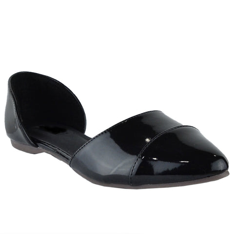 Womens Ballet Flats Pointy Toe Side Cutout Slip On Patent Leather Shoes Black