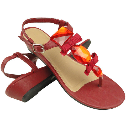 Womens Dress Sandals T-Strap Gemstones Low Wedge Adjustable Ankle Strap Red