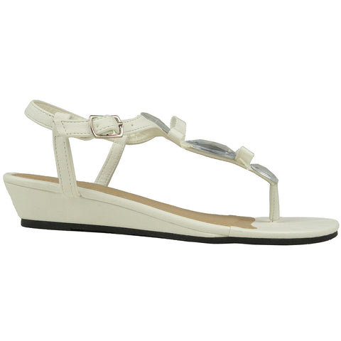 Womens Flat Sandals T-Strap Gemstones Low Wedge Adjustable Ankle Strap White