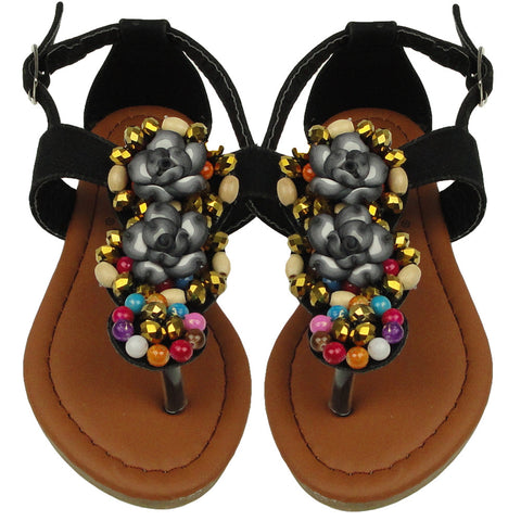 Kids Flat Sandals Colorful Beaded With Flowers Adjustable Ankle Strap black