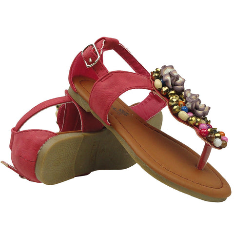 Kids Flat Sandals Colorful Beaded With Flowers Adjustable Ankle Strap Pink
