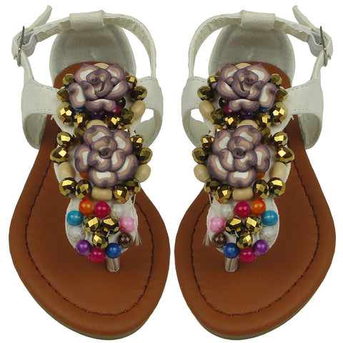 Kids Flat Sandals Colorful Beaded With Flowers Adjustable Ankle Strap White