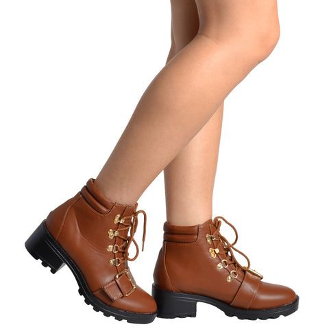 Womens Ankle Boots Lace Up Ankle Padded Adjustable Buckle Tan