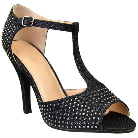 Womens Dress Sandals Rhinestone Studded Glitter High Heel Shoes black