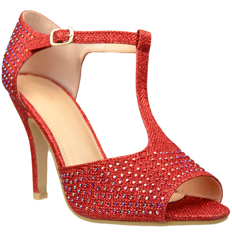 Womens Dress Sandals Rhinestone Studded Glitter High Heel Shoes Red
