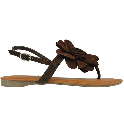 Womens Flat Sandals Thong Velvet Flower Adjustable Ankle Strap Brown