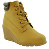 Womens Ankle Boots Lace Up Wedges Ankle Padded Booties Tan